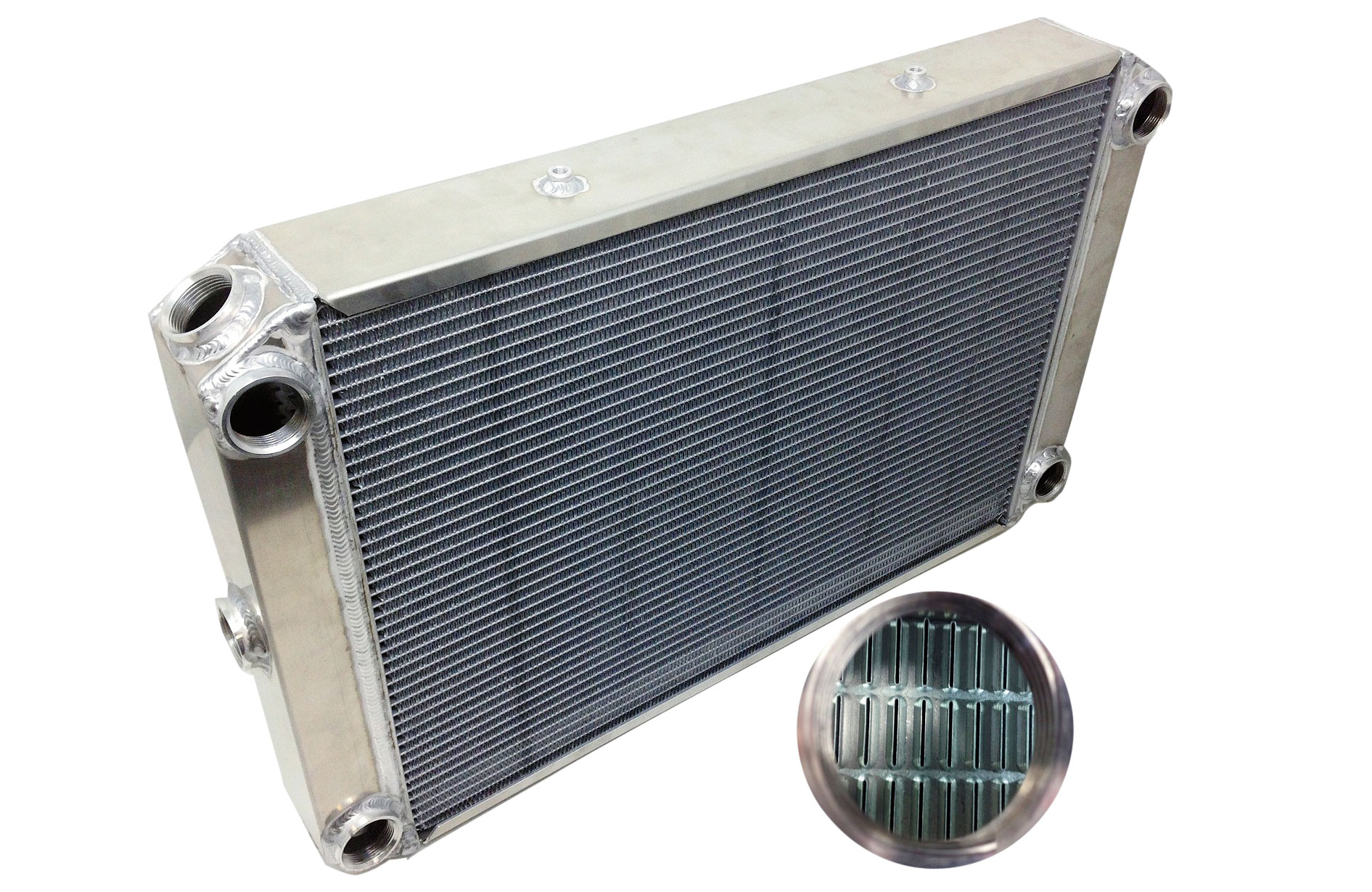 These advanced cooling modules also include eight separate 3/8-inch x 24 threaded bungs for attaching optional mounting bracket kits and hardware allowing the unique option of using this radiator as a traditional top and bottom tank design or the modern crossflow design.