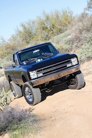 1967 chevyc20 4x4 conversion clean and black front view vert