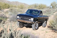 1967 chevyc20 4x4 conversion clean and black front left three quarter view