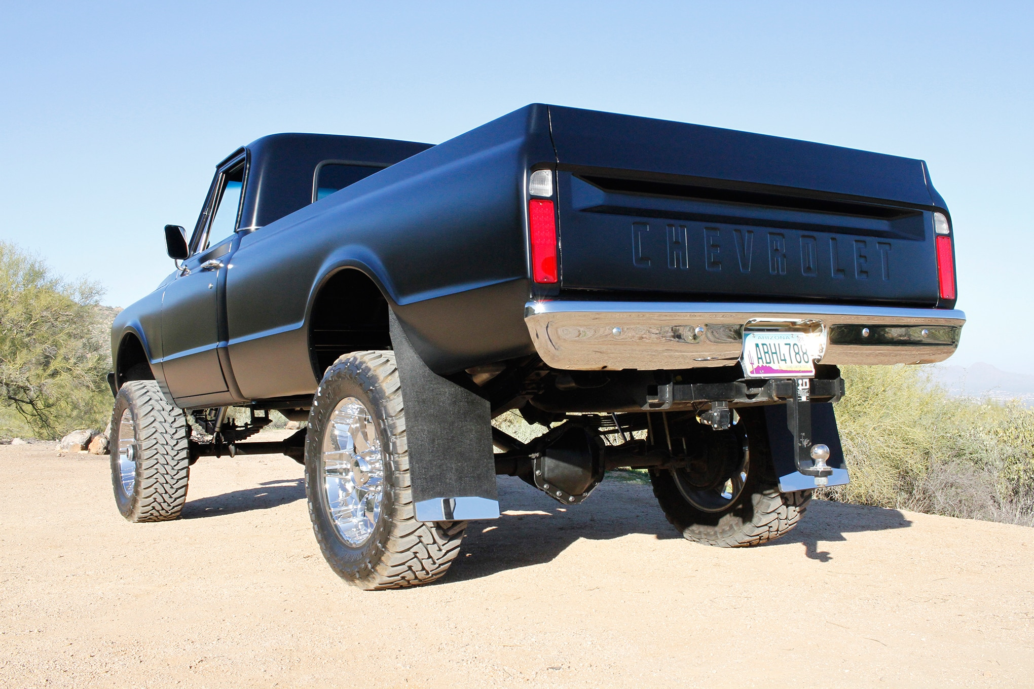 010 1967 chevyc20 4x4 conversion clean and black left rear three quarter view