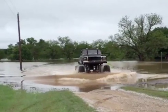 Ford Mega Truck Rescues Neighbor From Texas Flood - Video