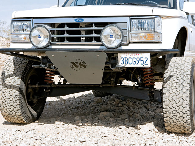 Much of the truck as you see it was built by Austin himself. The I-beam suspension system is comprised of Ford Bronco II extended and plated beams rebuilt and fabricated by NS Offroad. They measure 6.5 inches wider per side and provide 18 inches of usable wheel travel.