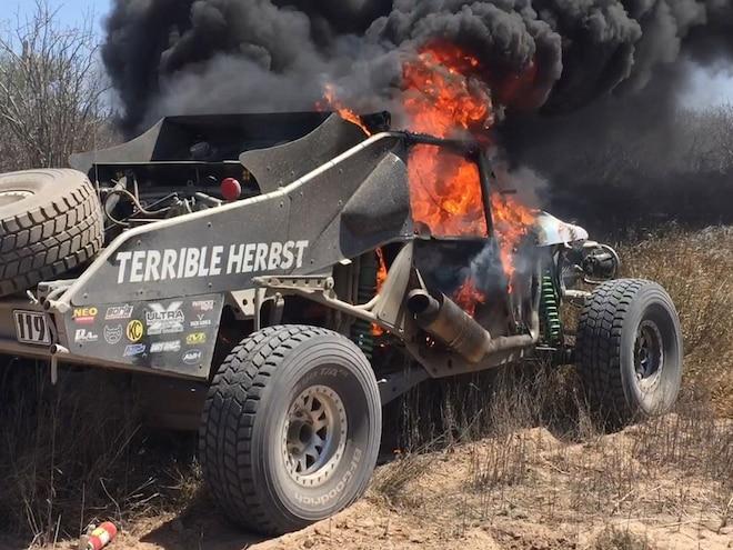 Beloved Herbst Landshark On Fire at 2016 NORRA 1000 – Exclusive Video
