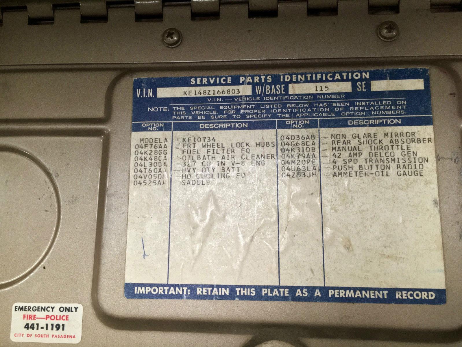 1968 Chevy C 10 parts tag