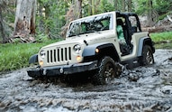 jeep crossing water on rubicon trail