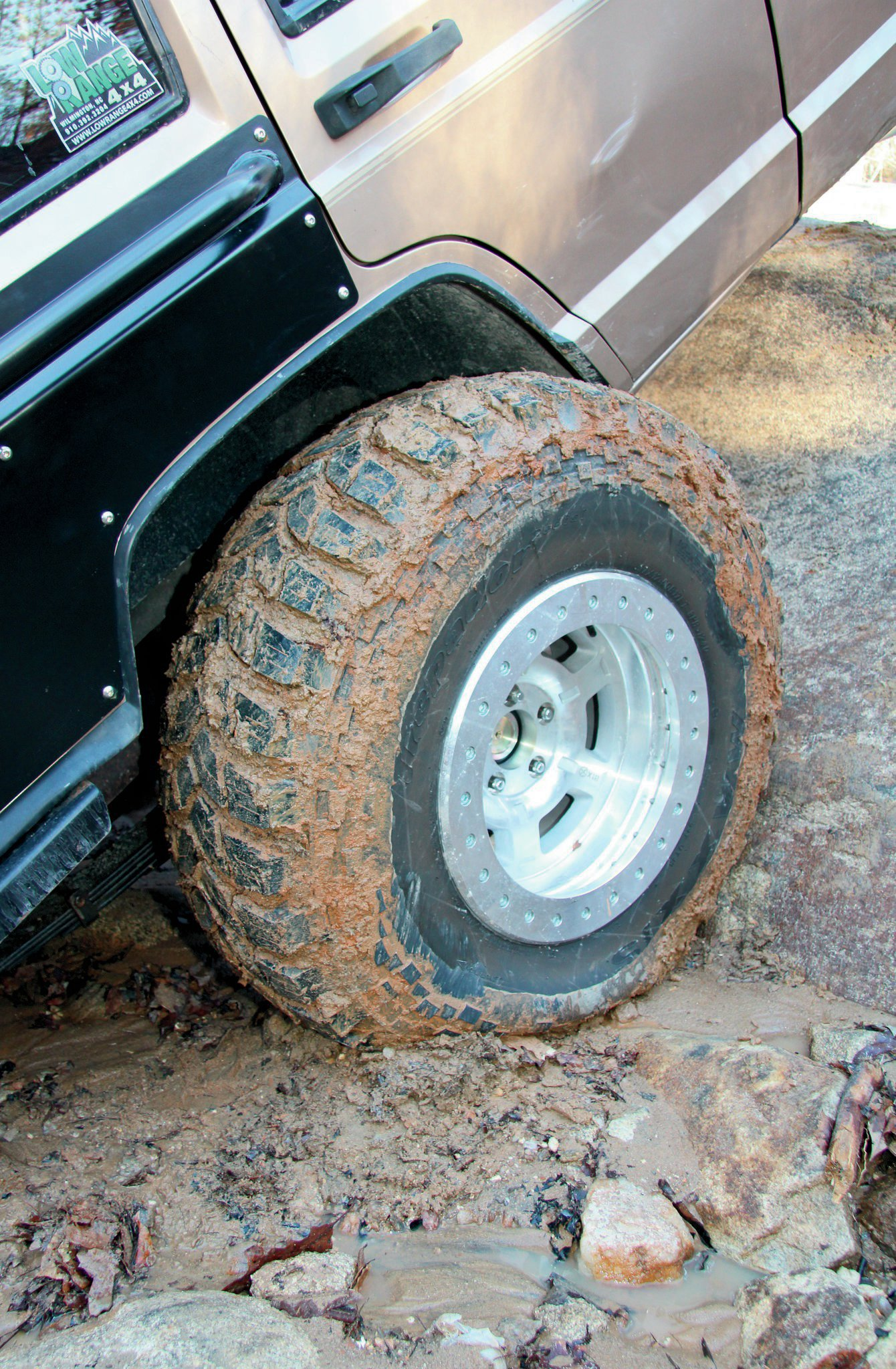 Before we could start playing in the dirt, we dropped the air pressure in our 37x12.50R17 Maxxis Trepador Radials. Since we are running ATX Chamber Pro II beadlocks, we were able to drop the air pressure to a more usable 7 psi in the front and 5 psi in the rear. The clay at Gulches is some of the slickest when it gets wet. Thankfully, the Trepadors didn't leave us spinning in our tracks. We were amazed at how well they gripped and cleaned out. Look for a more detailed tire and wheel review in a future issue.