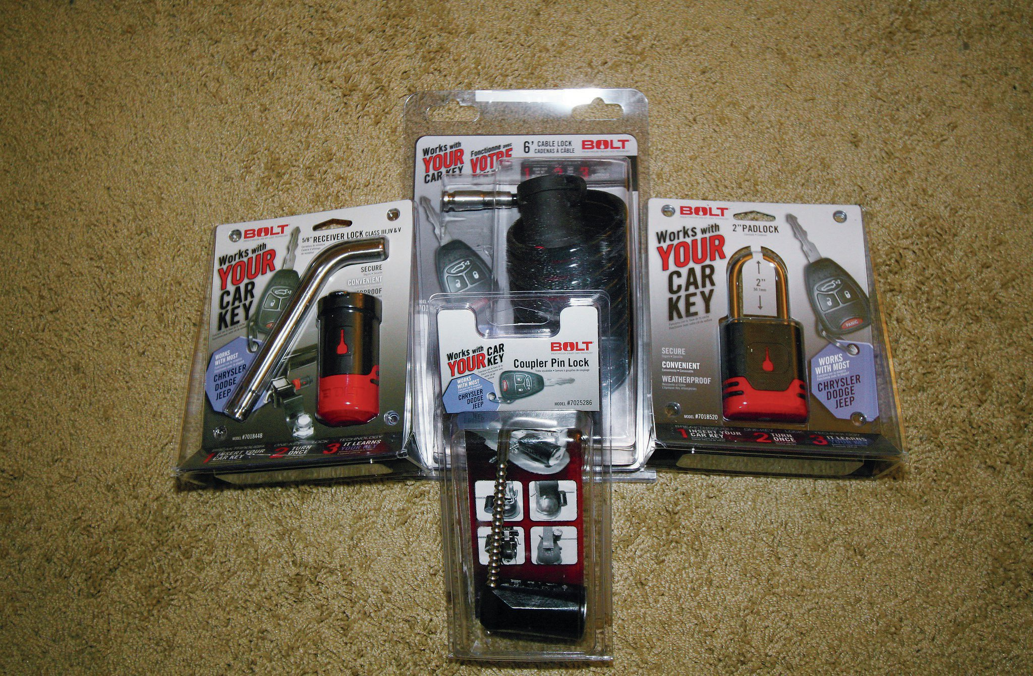 A few other nifty products in the Bolt line-up, include a trailer lock, hitch-pin lock, padlock, and cable lock. From your spare tire to your off-road trailer, just about everything you need to secure is covered by these locks.