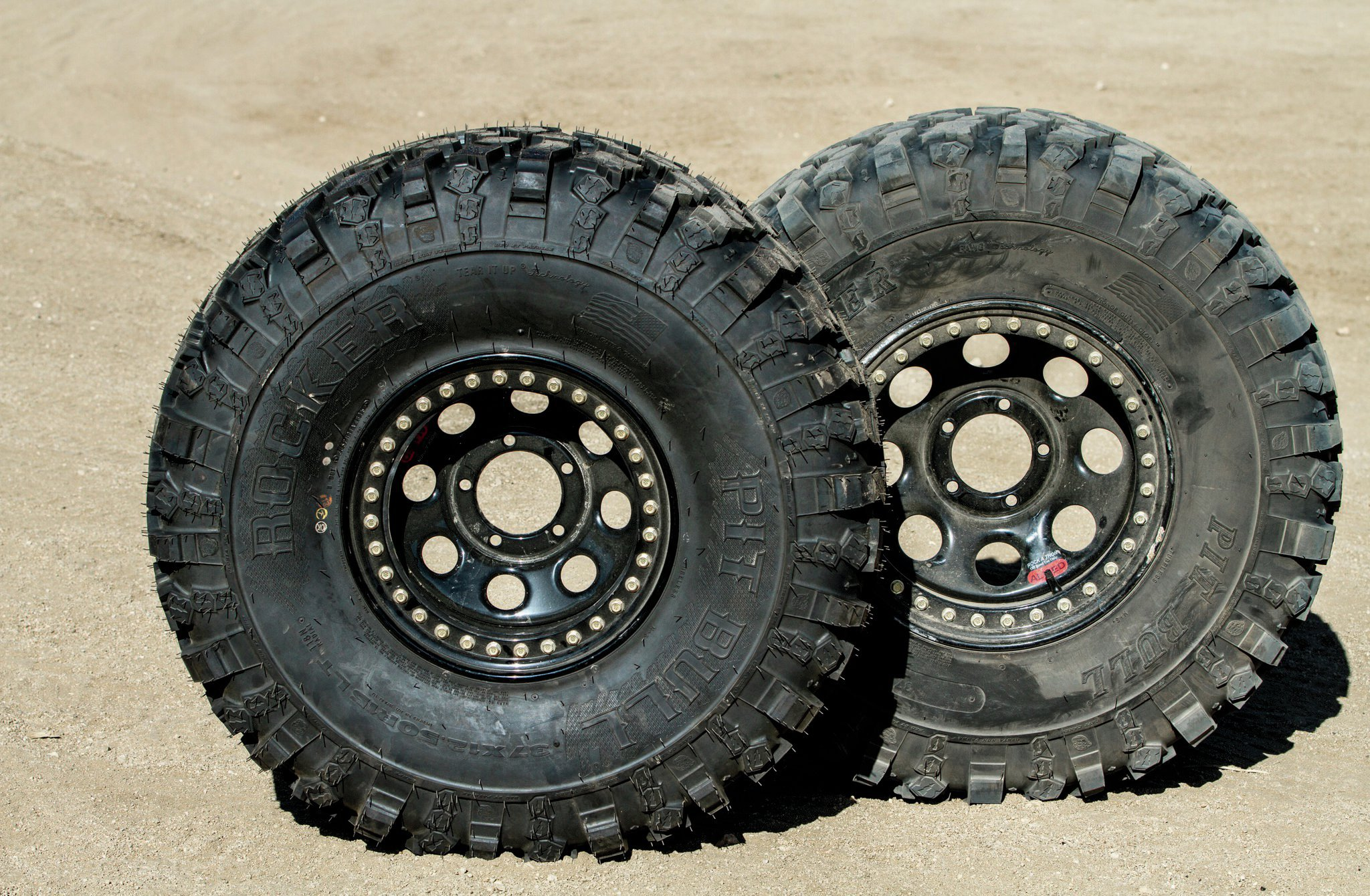 Like these Allied beadlock wheels, steel wheels are typically available in 15, 16, and 17-inch sizes. Aluminum wheels are available in a greater variety of diameters. Larger wheels allow for fitment of bigger brakes, and 17-inch wheels currently have the most tire options available.