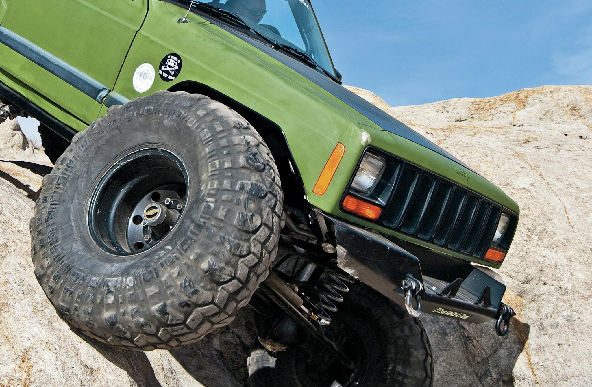 Steel wheels, like these from US Wheel, are strong and inexpensive, making them perfect for a dedicated rockcrawler. They are also available with shallow backspacing, which widens the track width and adds stability and clearance but also increases steering effort.