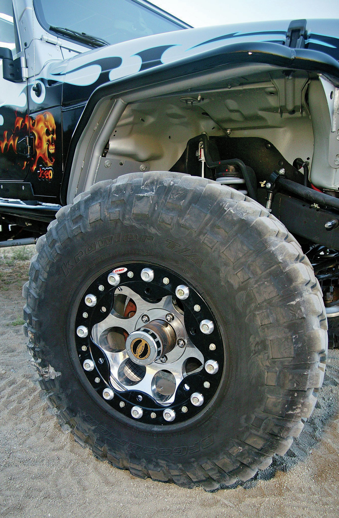If you already have aluminum wheels, OMF can convert them to beadlocks by machining the outer lip off of the wheels and welding on a new mounting surface that is threaded to accept their beadlock ring.