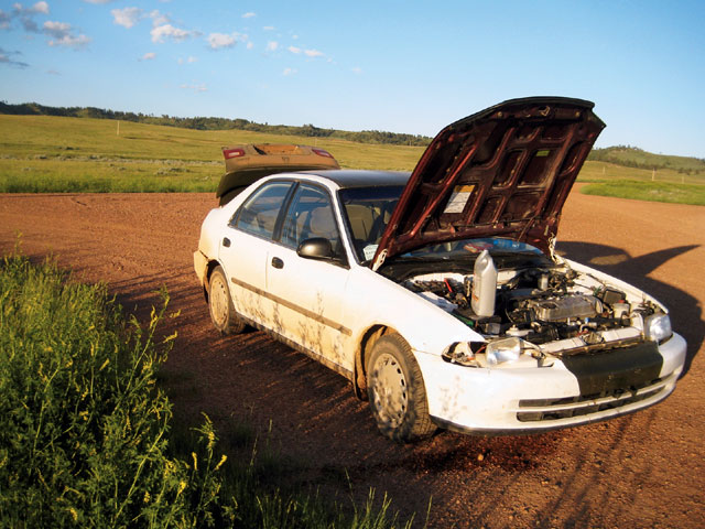Overheating was the downfall or my rally runner. I neglected to watch the gauge and blew a head gasket 20 miles from Bliss Ranch. Out of time, light, and water, I drove the car back to the ranch and gained a healthy respect for an engine that didn't blow up.