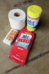 toliet paper and wipes
