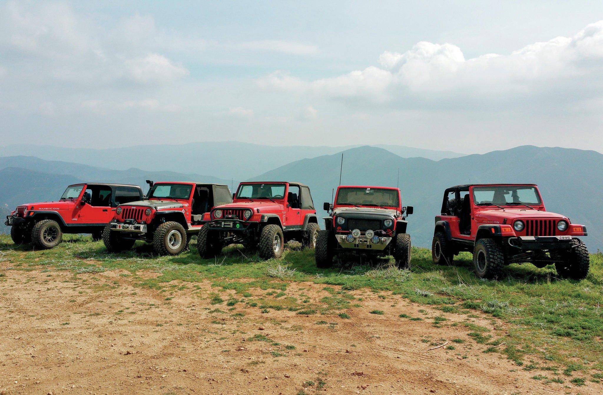 fleet of jeeps ready for wheeling