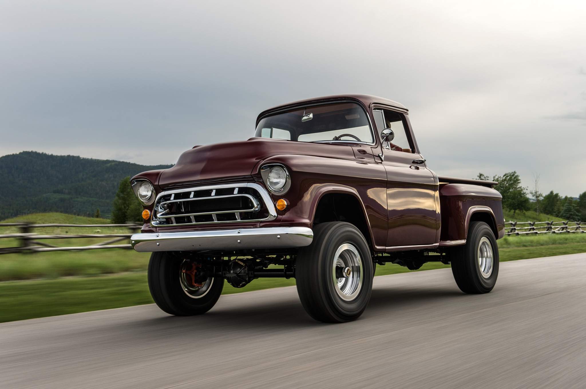 1957 chevrolet task force napco legacy classic trucks front three quarter in motion