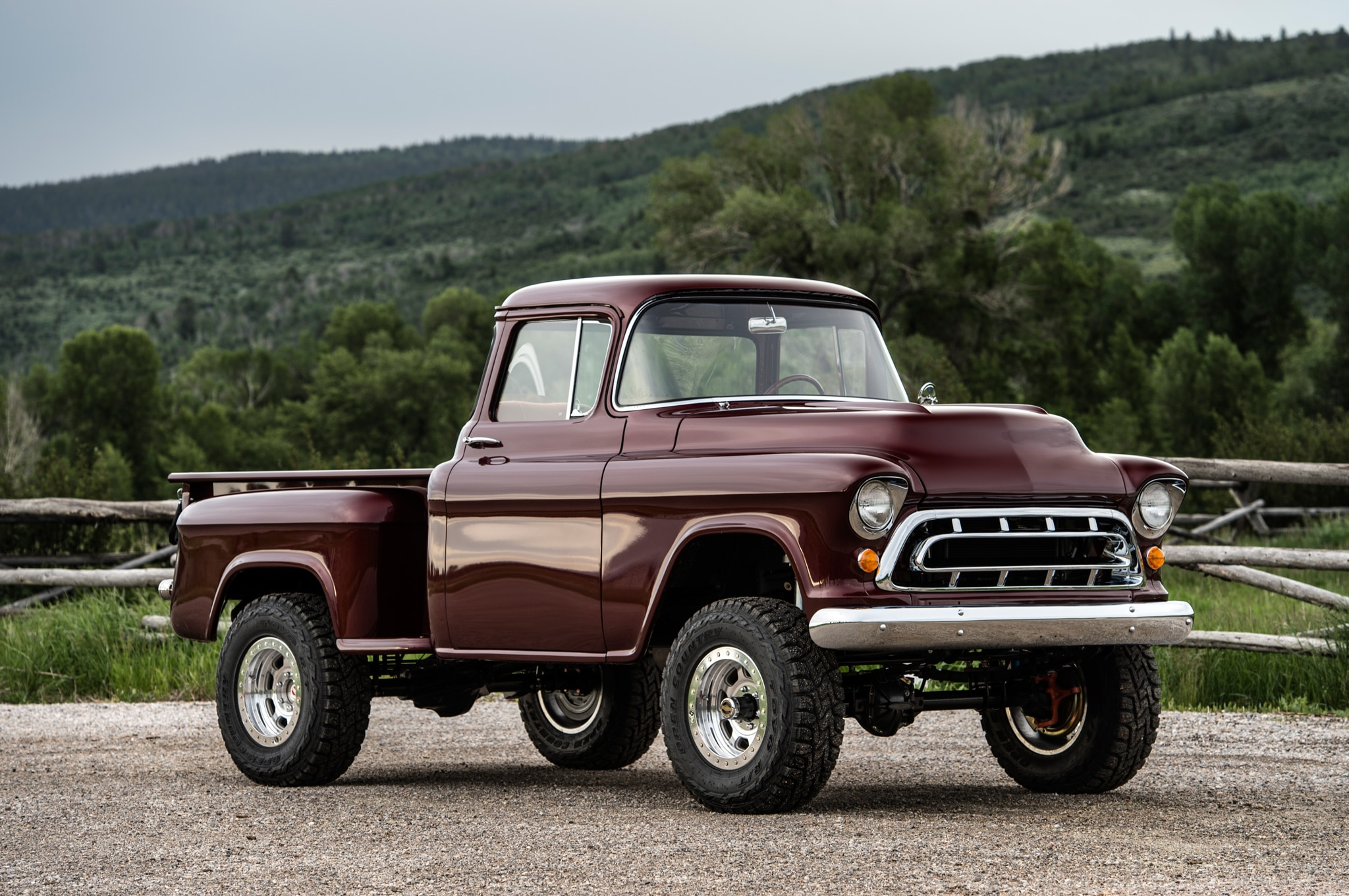 1957 chevrolet task force napco legacy classic trucks front three quarter static