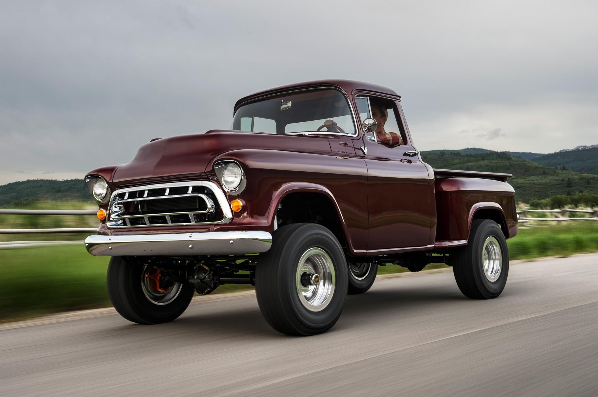 1957 chevrolet task force napco legacy classic trucks front three quarter