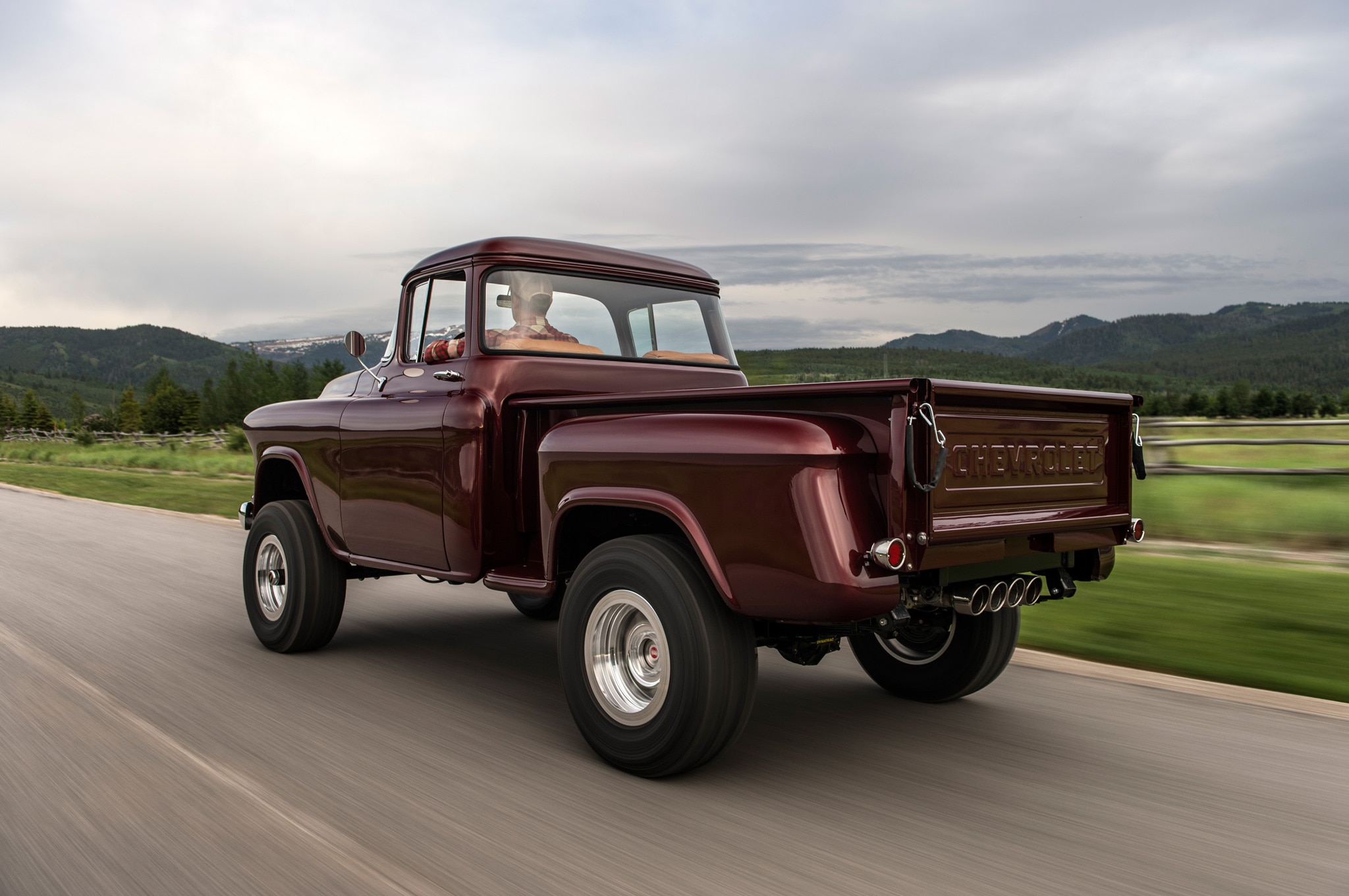 1957 chevrolet task force napco legacy classic trucks rear three quarter in motion