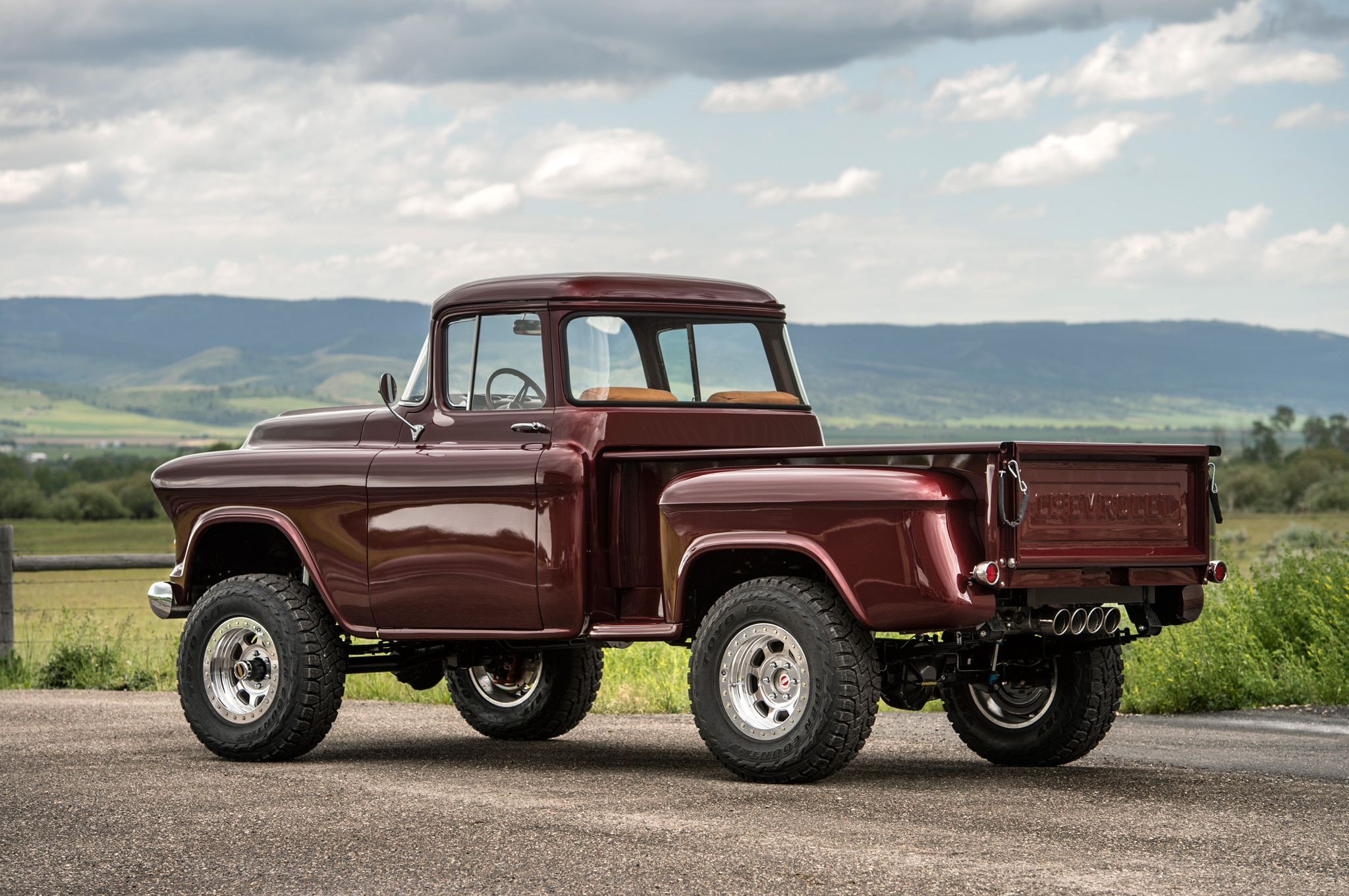 1957 chevrolet task force napco legacy classic trucks rear three quarter static sunshine