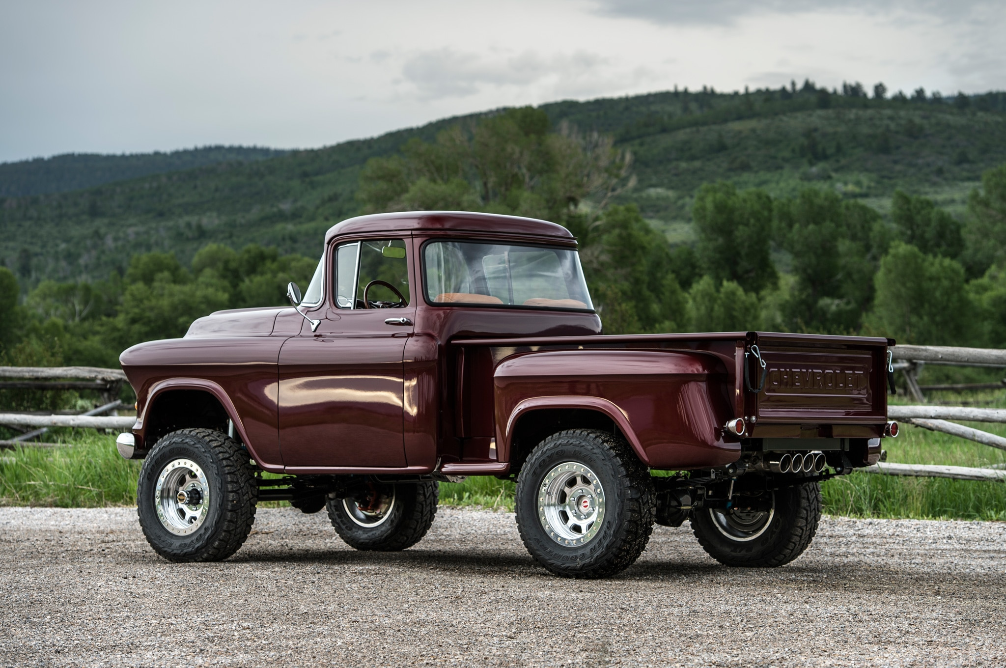 1957 chevrolet task force napco legacy classic trucks rear three quarter static