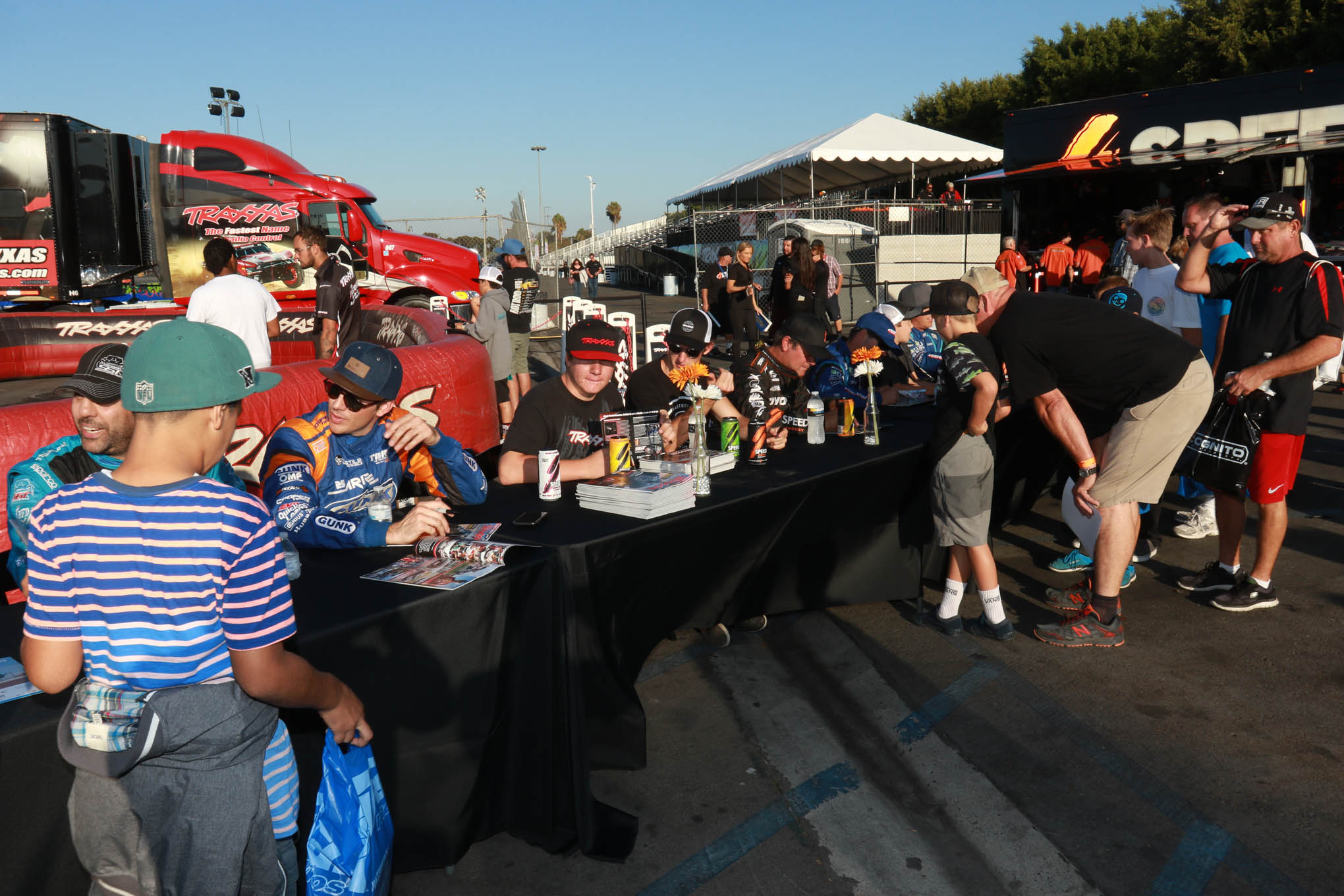 Robby Gordon and his Stadium Super Trucks racers were on hand to sign autographs prior to two nights of intense racing.
