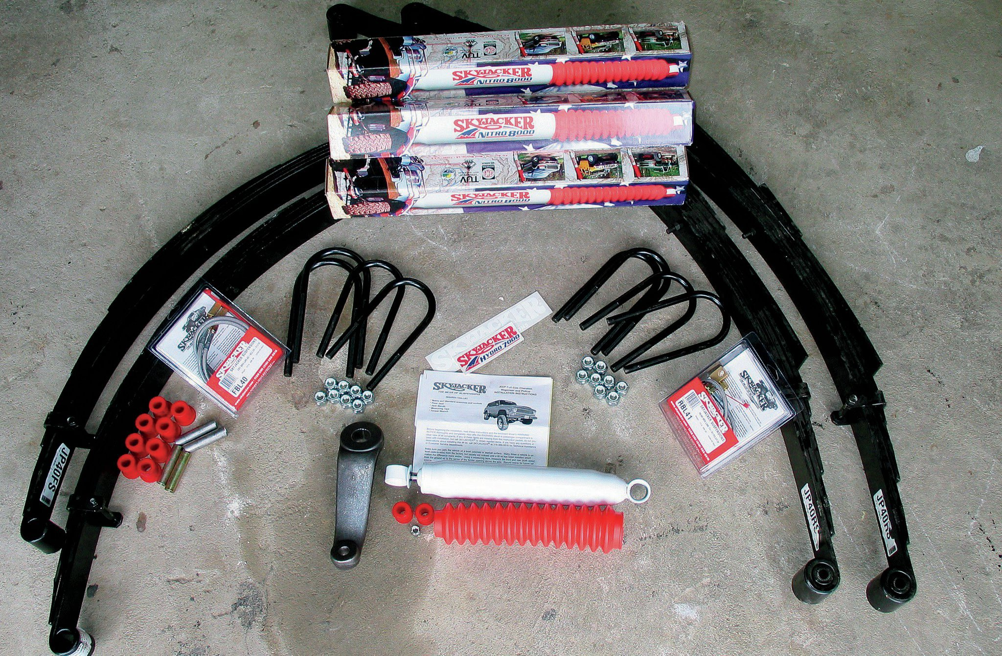Leaf-spring and coil-spring lift kits are commonly available with heavy-duty or soft-riding springs. If you regularly carry excessive loads or have performed a heavy engine swap, you should steer into the stiffer springs. When working with a leaf-spring suspension like this Skyjacker (skyjacker.com) lift for a '74-'87 Jeep FSJ, always plan on replacing the U-bolts. In many cases they are so corroded that they have to be cut off of the vehicle to be removed.