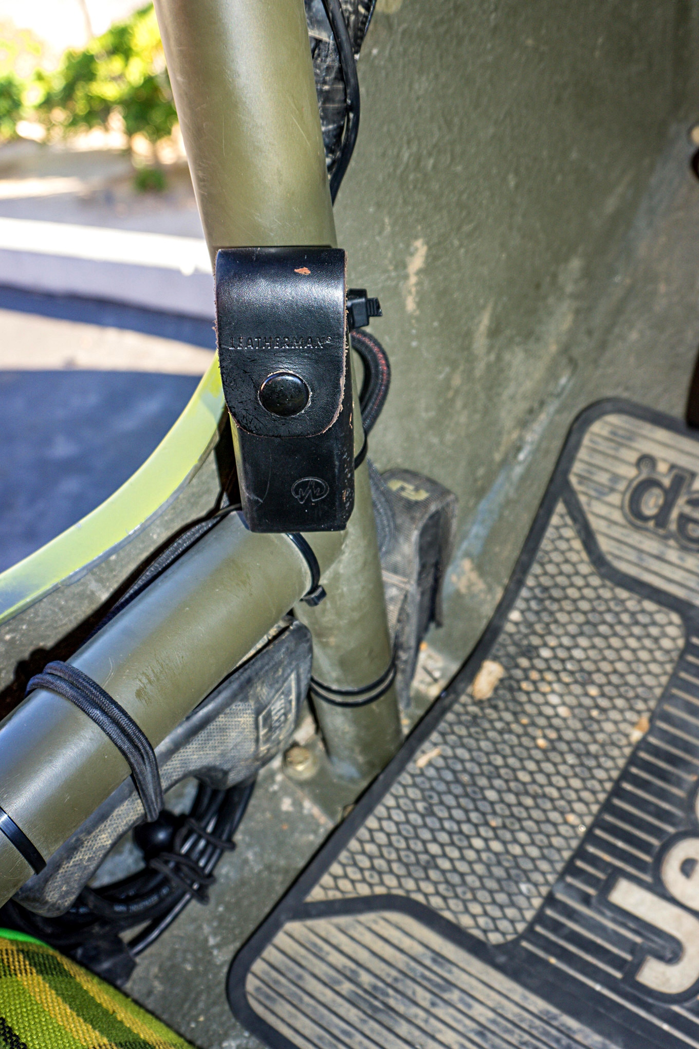Flashlights and multitools are two of the items we use most often on the trail. Williams keeps them easily accessible by zip-tying the cases for these items to his rollcage. He also bungees the controller for his Warn winch in the same location, where it is easy to reach but out of the way.