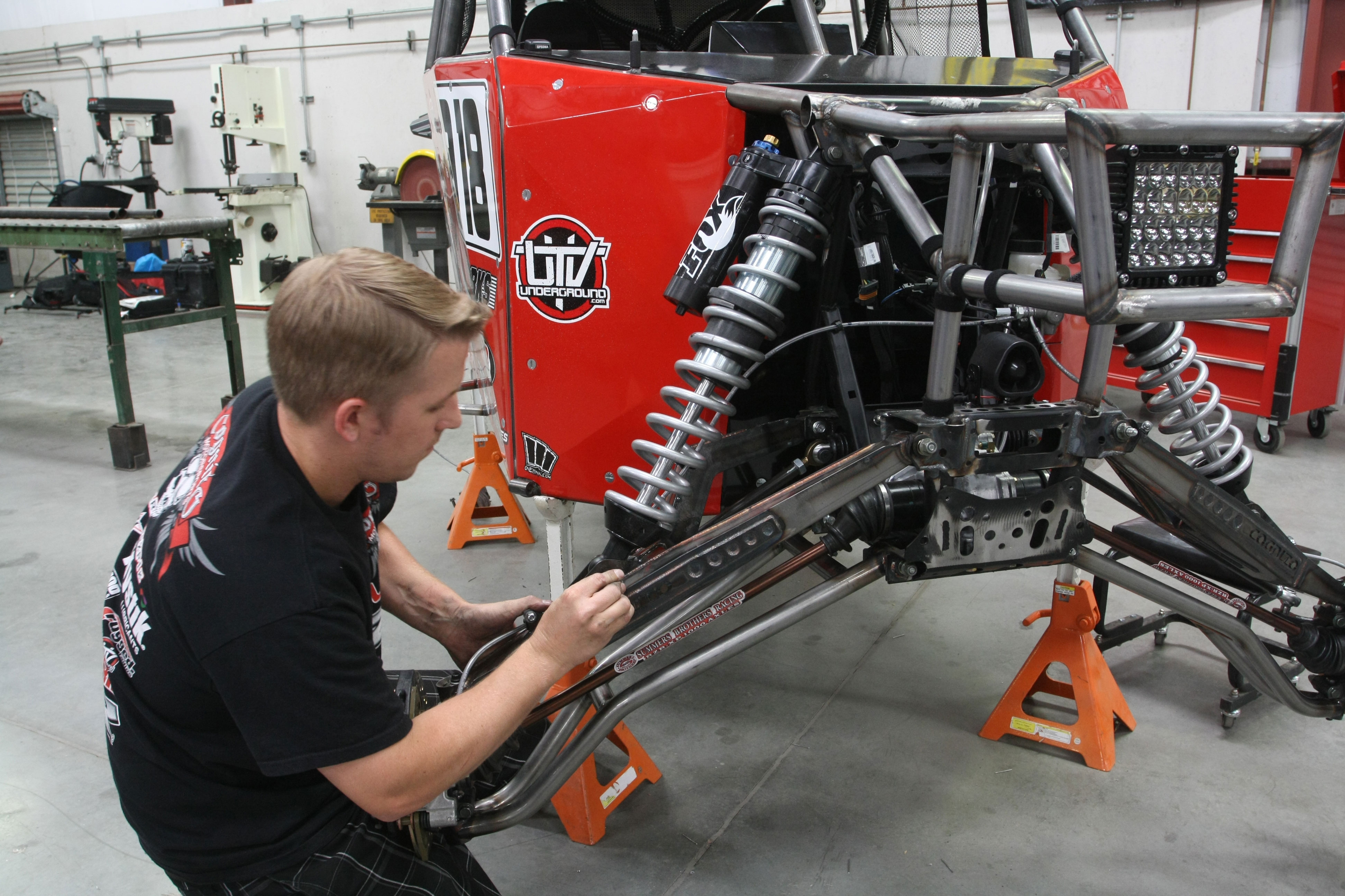 Keeping the RZR running smoothly is done with FOX Podium Internal Bypass Series shocks. The FOX shocks feature a DSC adjuster, 7-zone compression and 3-zone rebound bypass, dual rate springs, 7/8-inch shafts and a remote reservoir.