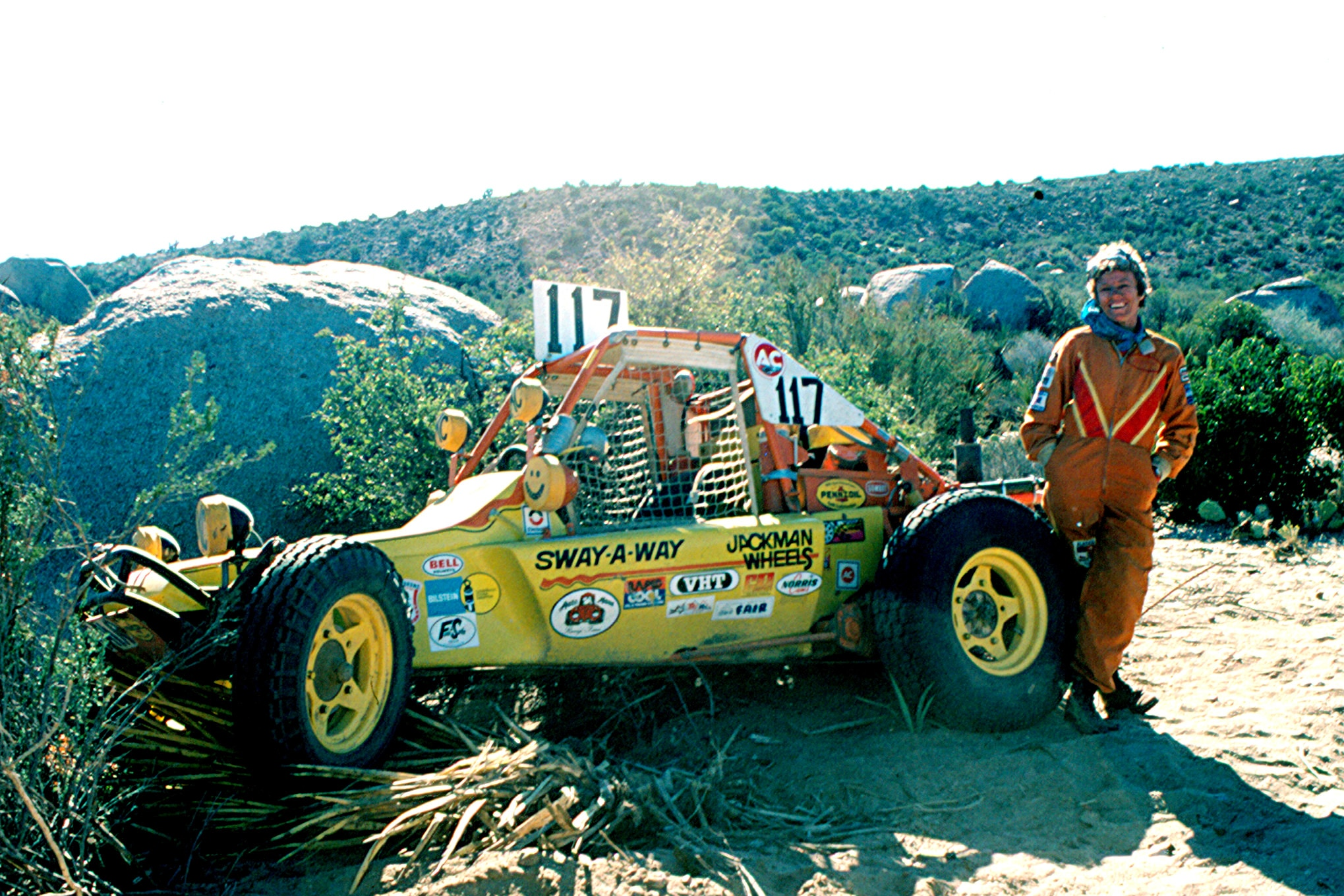 Judy Smith still had a smile on her face even after she DNF'd the 1973 Baja 1000. She had clipped a tree stump and sheared the bolts off of the right front tire, putting her out of the race. Judy had finished third overall at the previous Baja 1000.