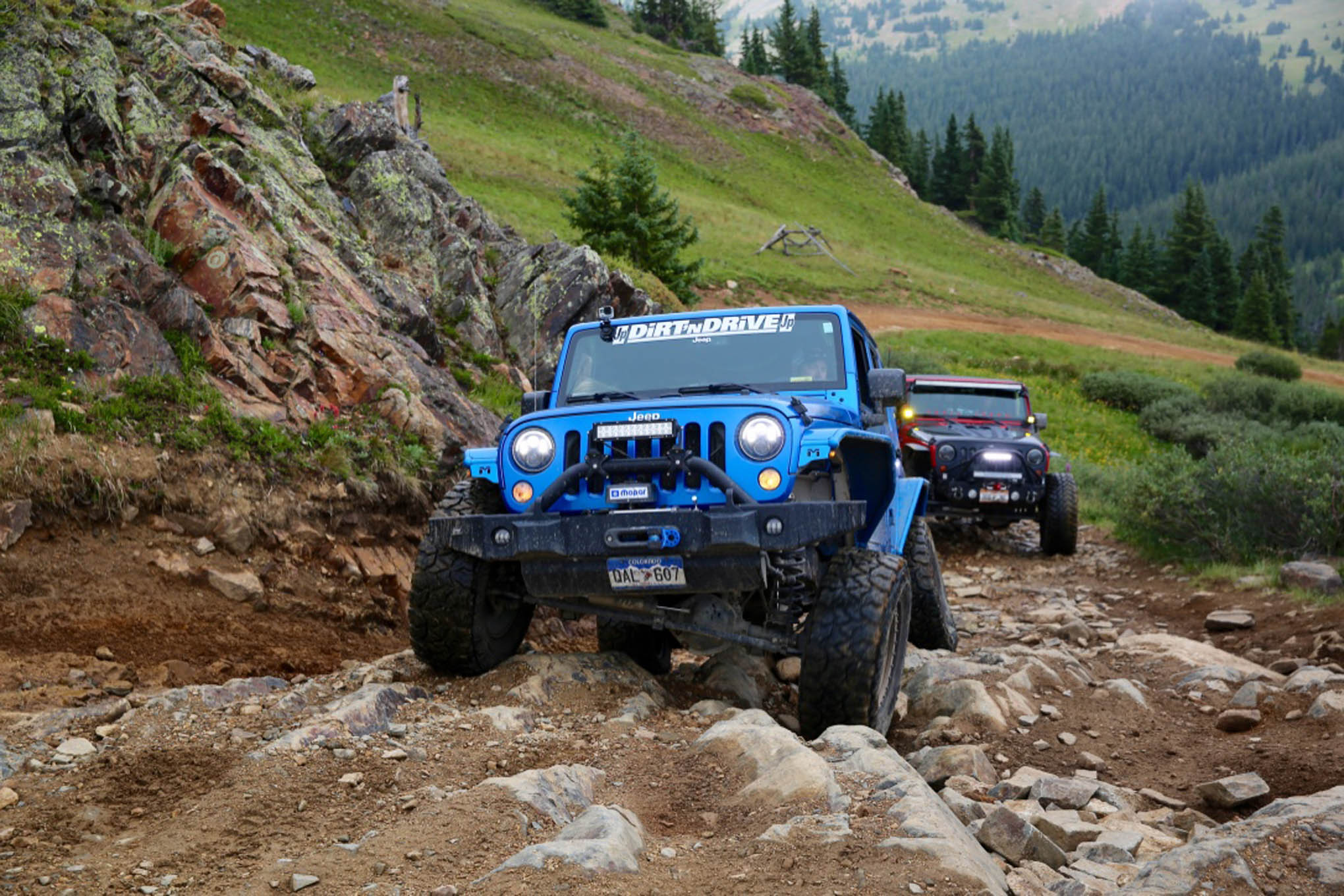 Two well-built Jeeps negotiate the first challenging section of Radical Hill.