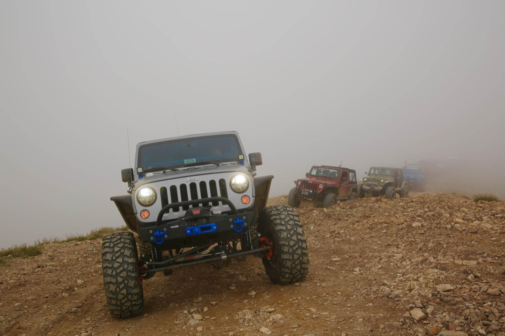 A '13 JK Unlimited Rubicon approaching the summit of Red Cone Peak.