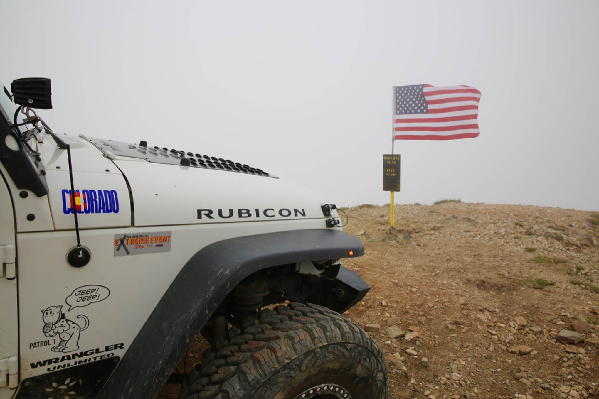 At the summit of Red Cone peak with Gary Allen in his '08 Rubicon.