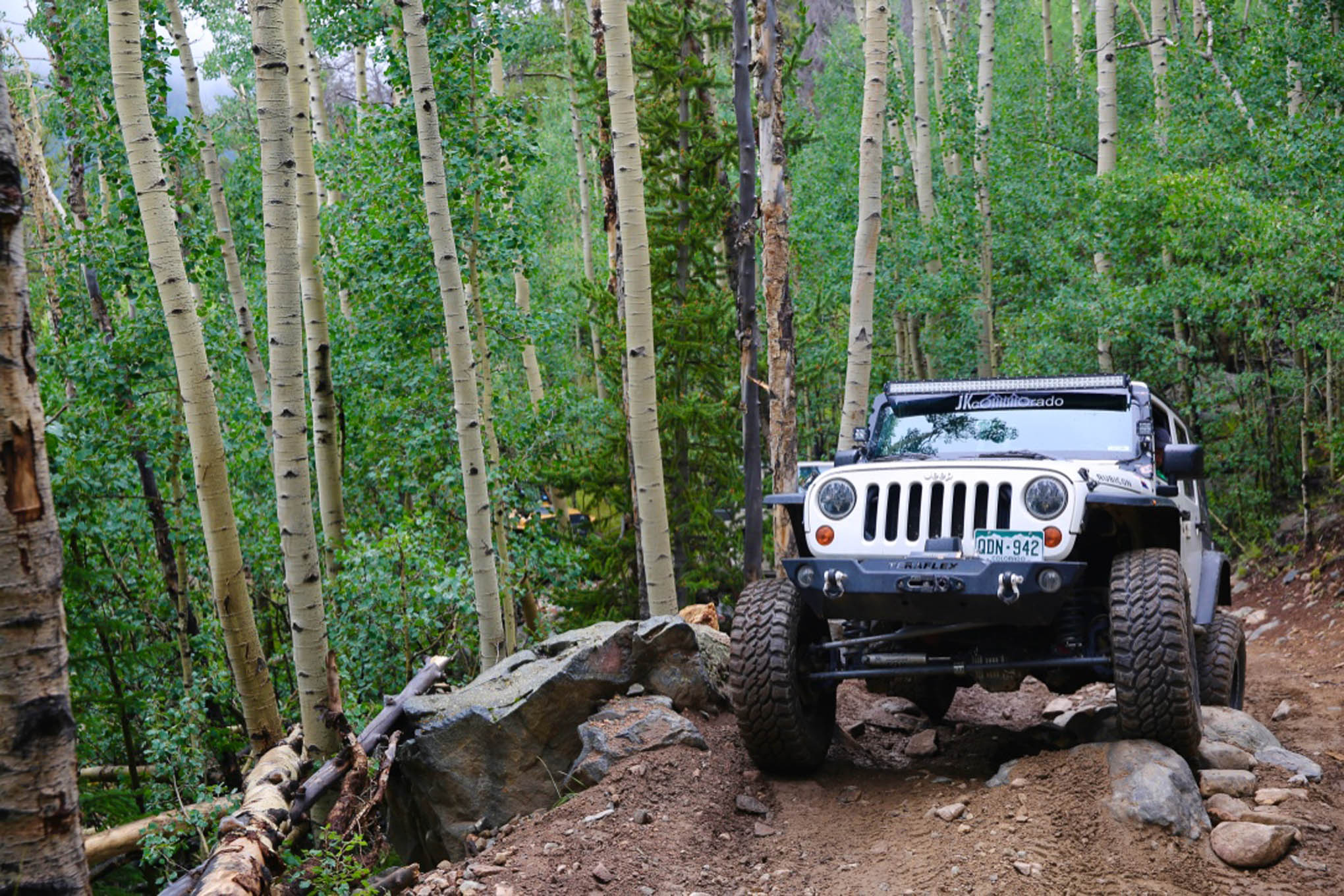 Gary Allen gets a little twisted on the Red Cone Pass trail in his '08 Rubicon.