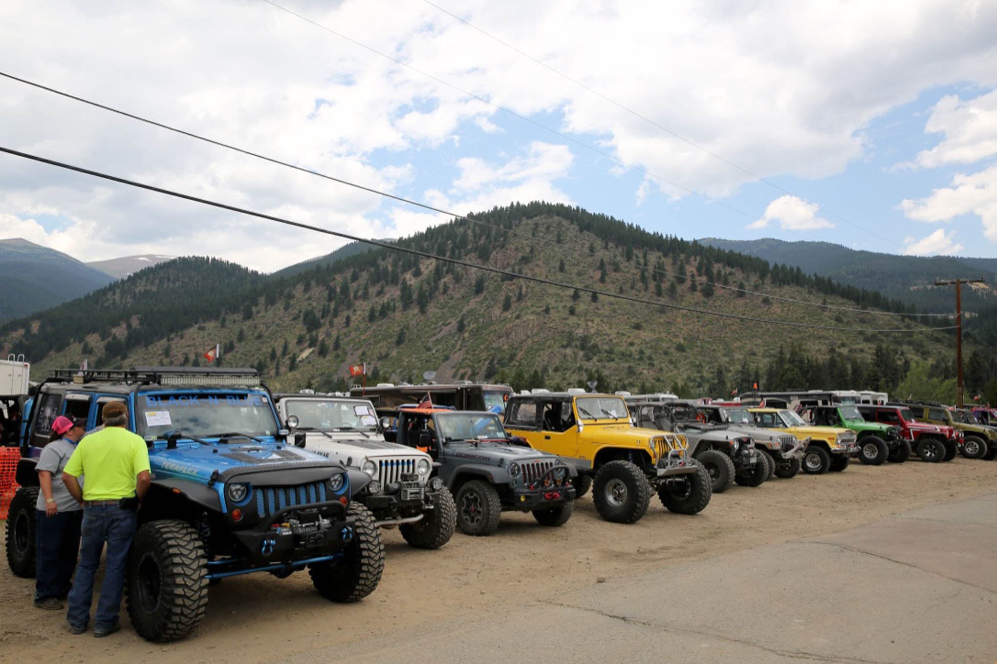 Participants are lined up to show off their rigs at the show 'n' shine.