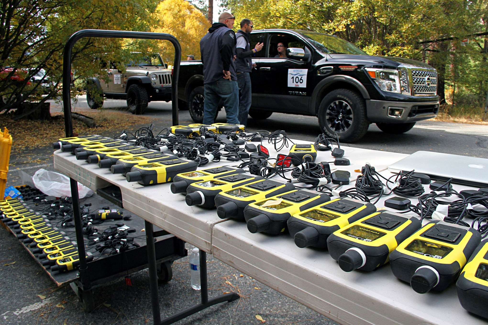 Vehicles went through a technical inspection to make sure they were safe. GPS devices were sealed. The rally tracker was the only electronic device the competitors were allowed to use.