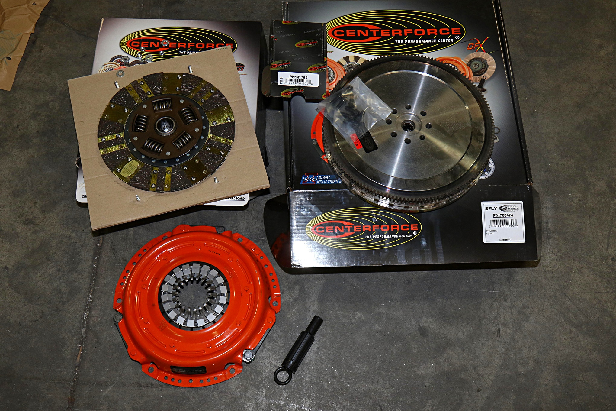 The parts kit from Centerforce Performance Clutch was complete. The only thing we needed to do was use solvent to clean the cosmoline residue off of the flywheel before installation.
