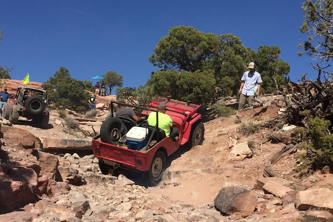 Willys Flat Fender Jeeps Attack Moab