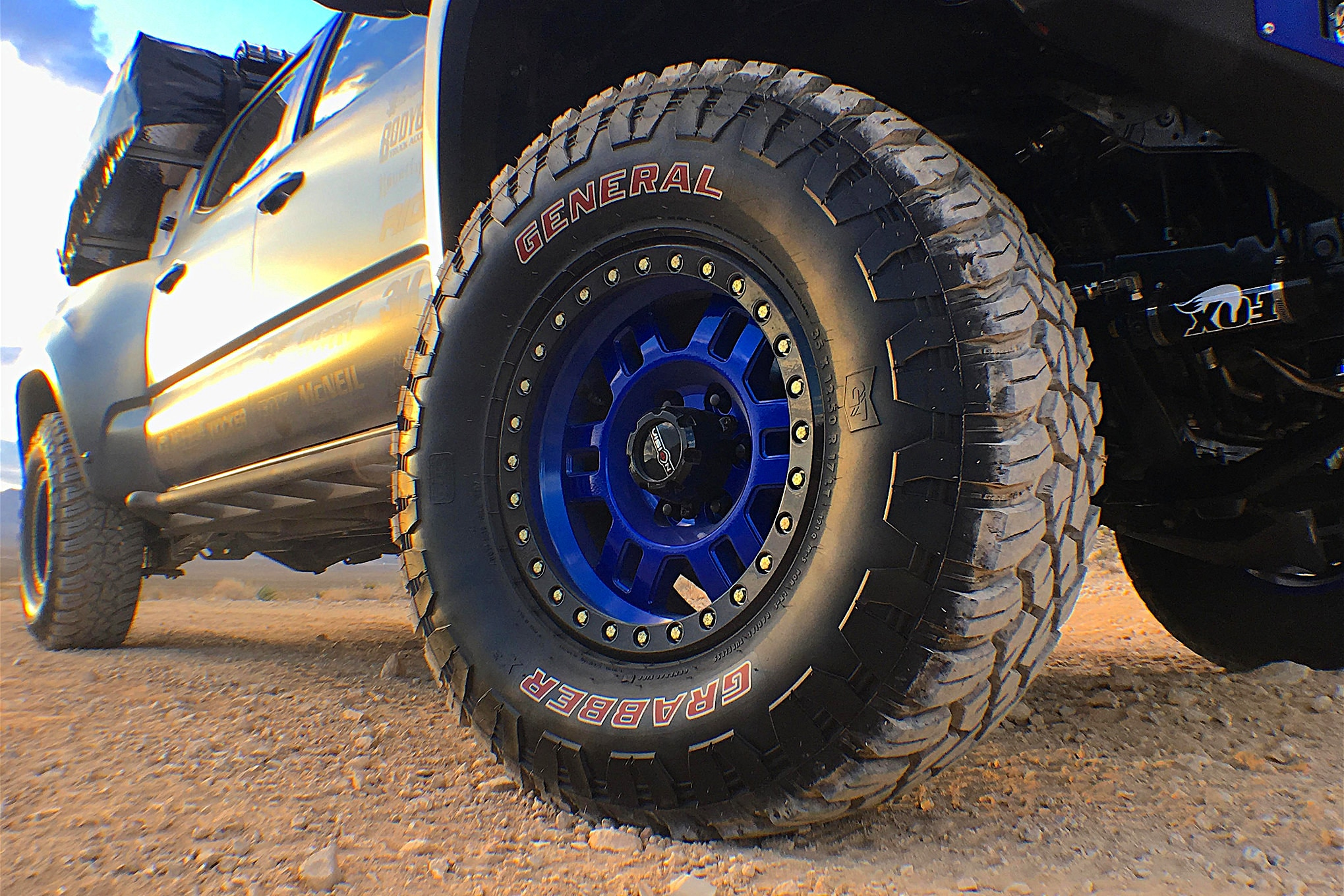 It's tough out there, so Wise went even tougher with 35-inch General Grabber tires that have been mounted on Vision beadlock wheels.
