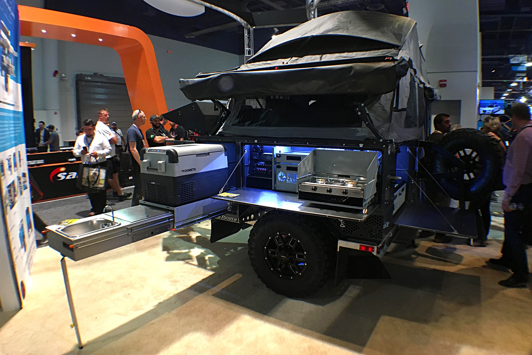 There were a lot of overlanding rigs on display. Everything from trucks to trailers like this had all ready to go extreme camping.