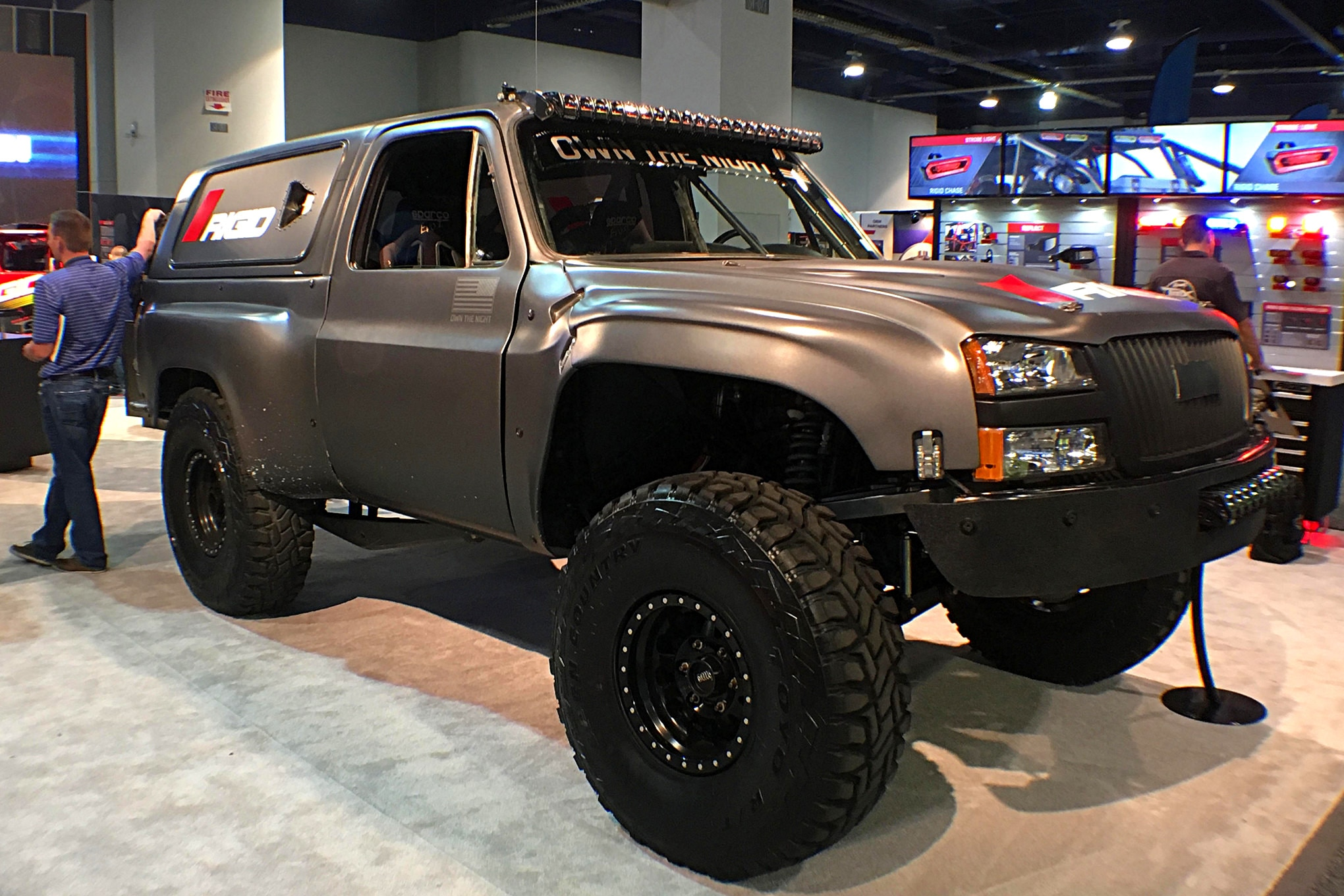 Rigid had this beautiful, gunmetal gray Chevy prerunner in their booth.