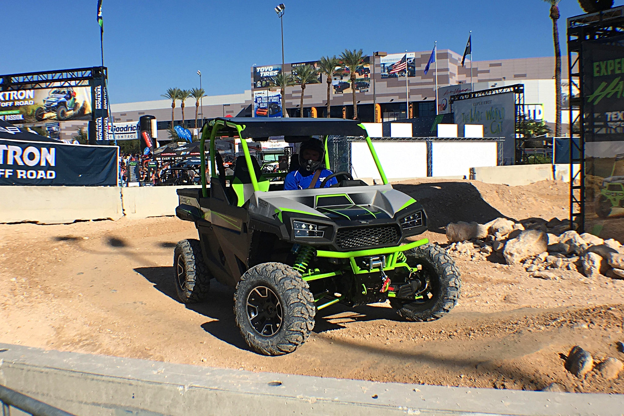 Textron had a small course in one corner where their drivers took enthusiasts for a fun-filled spin.