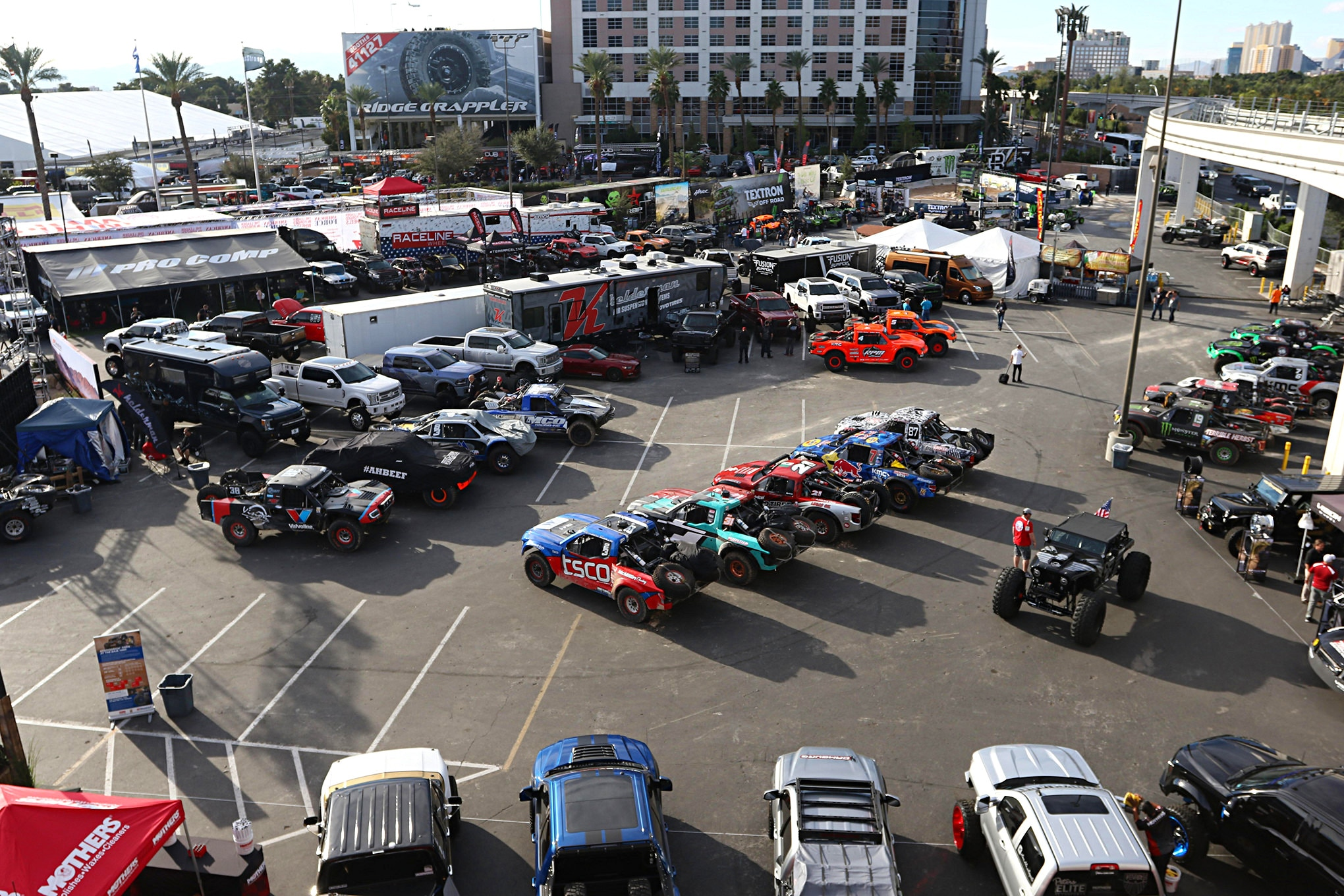 In addition to many vendors booths, the SCORE/BFGoodrich area was the staging area for the race trucks that were going to be qualifying Tuesday night.