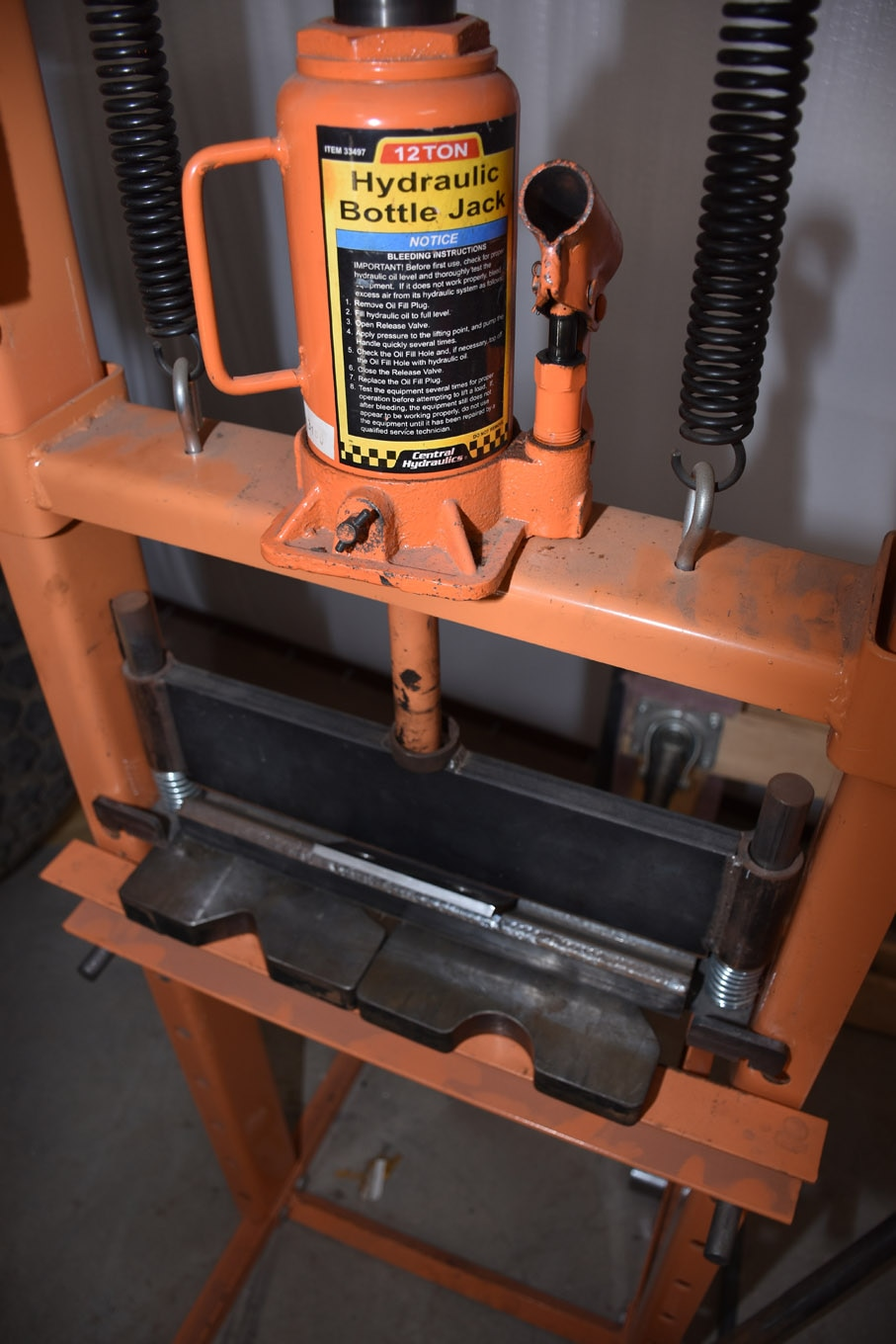We mentioned our 12-ton Harbor Freight Tools shop press, with the press plates and press brake kit from Swag Off Road. This thing is great for making custom tabs and brackets as well as contoured weld plates. We'll use it for thicker materials. It's rated to bend 6-inch pieces of 1/4-inch steel plate, and 8 inches of 3/16-inch steel plate, and can do full-length bends on 1/8-inch or thinner steel plate. Bending with this setup is pretty straightforward, and many of the above information applies.