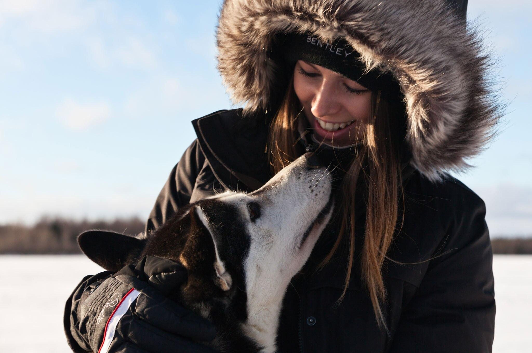2016 bentley power on ice woman husky dog