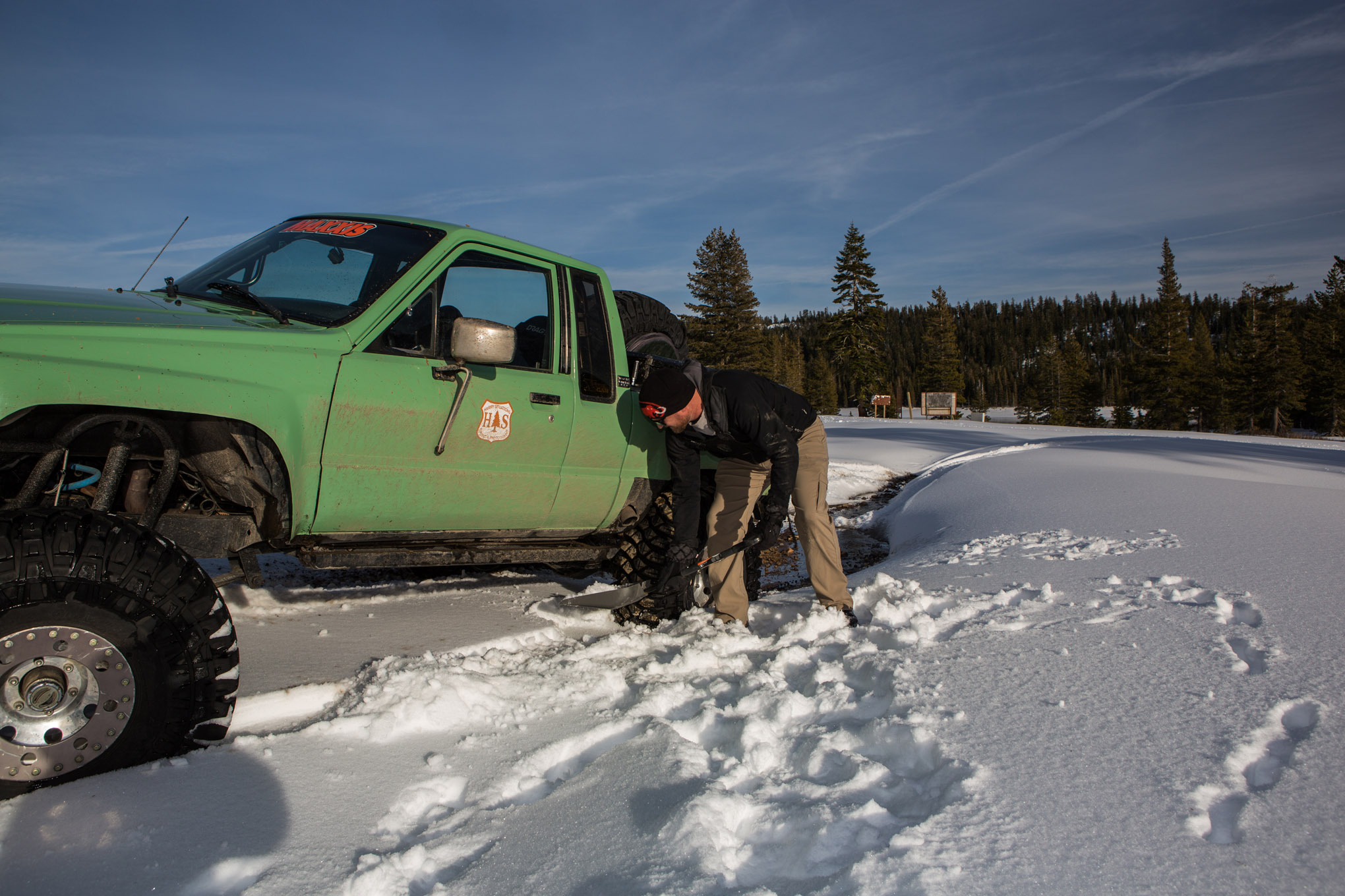 A shovel is a great way to help get your vehicle unstuck in the snow. A full-blown snow shovel is best, but this collapsible avalanche shovel was inexpensive, takes up little space, and gets the job done.