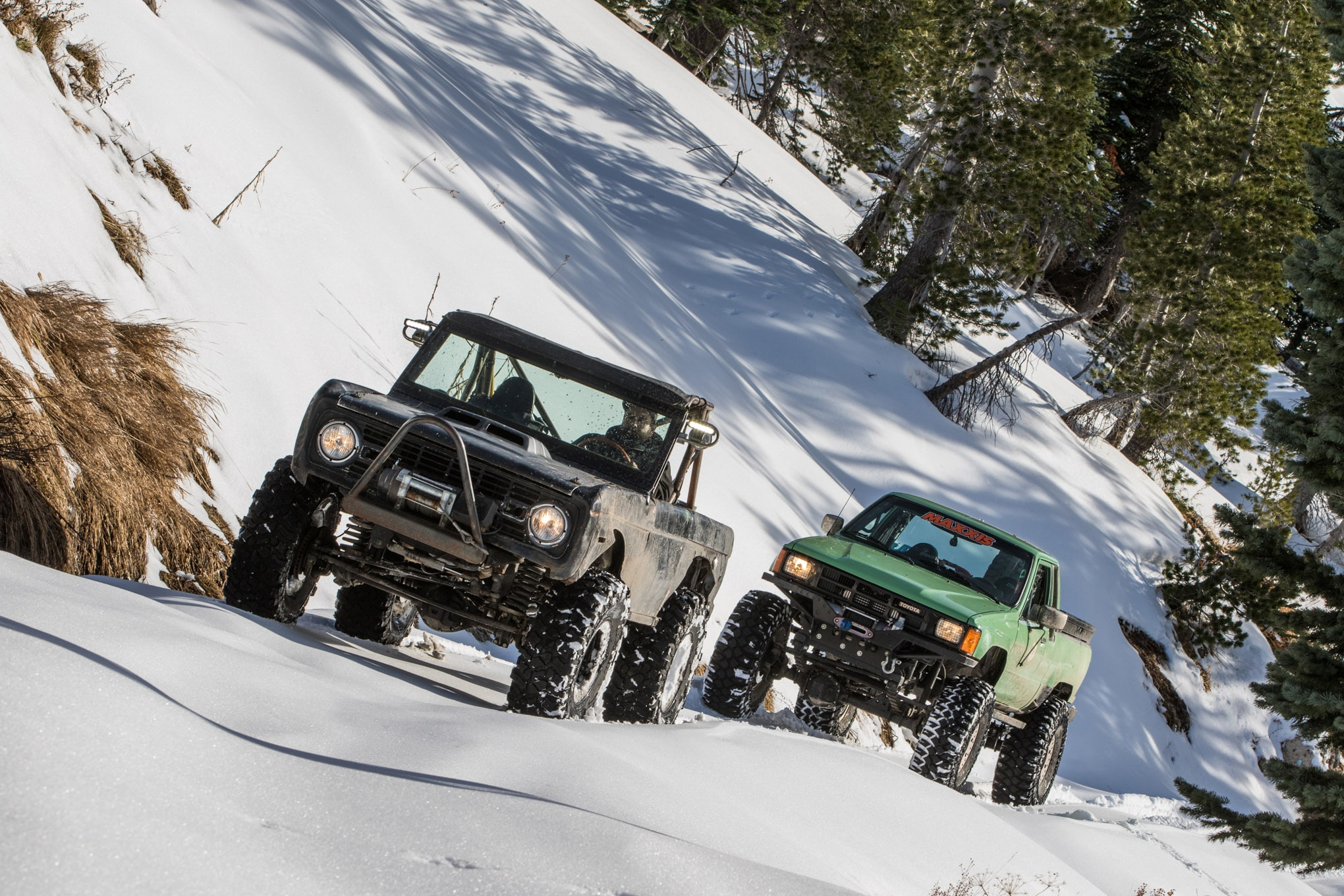 Don't have a top? That doesn't have to stop you from snow wheeling. Doors help trap heat, seated heats take the edge off, and Summit Racing Equipment offers a variety of small heaters designed for hot rods. A blanket around your passenger, or a dog on their lap, can go a long way to keeping them warm, too.