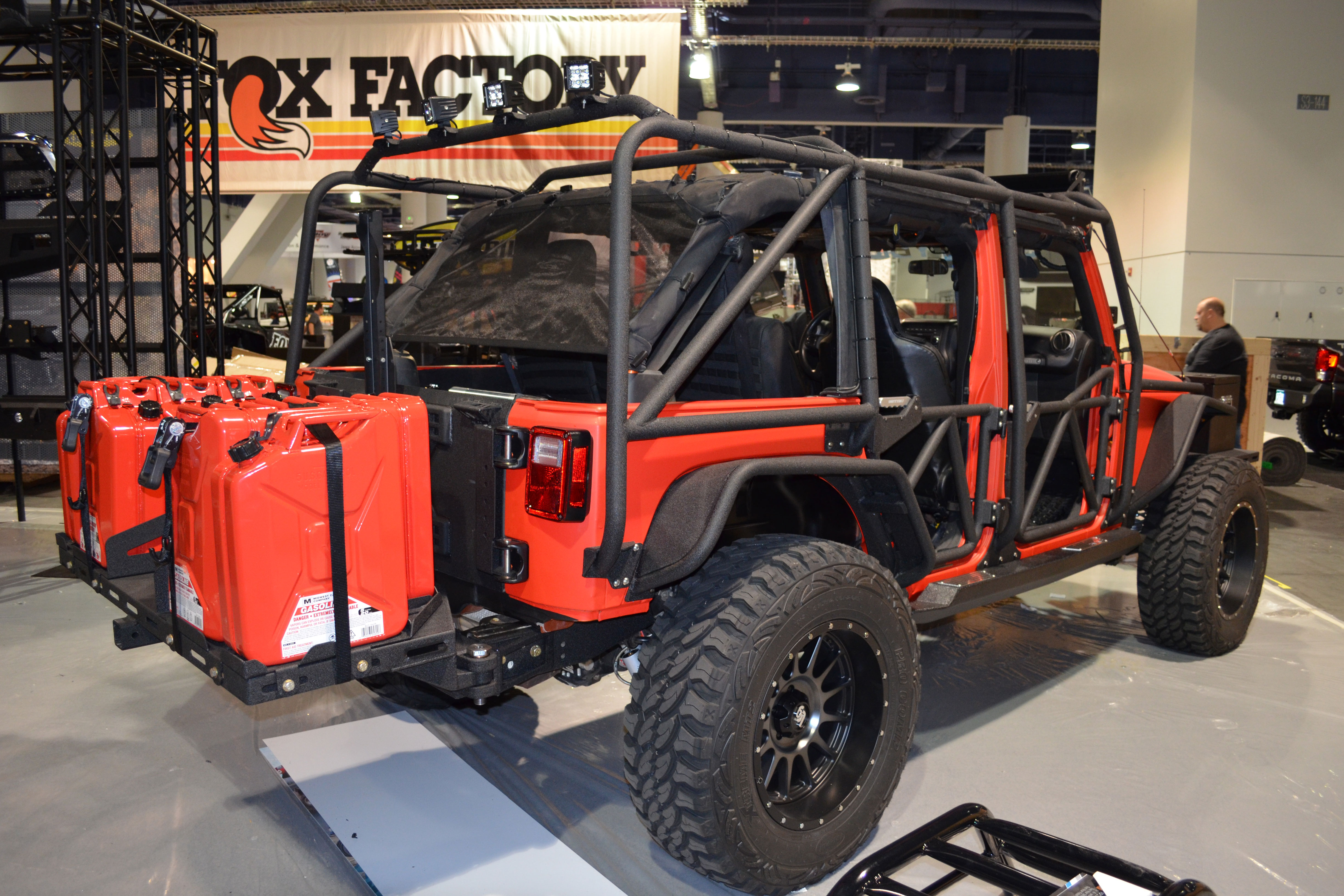 2015 SEMA Show Monday jeep with jerry cans