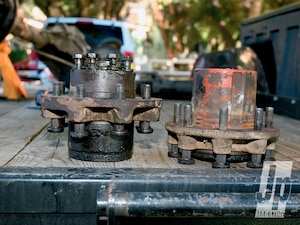 The dually Dana 70 hub and the GM Corporate 14-bolt hubs are