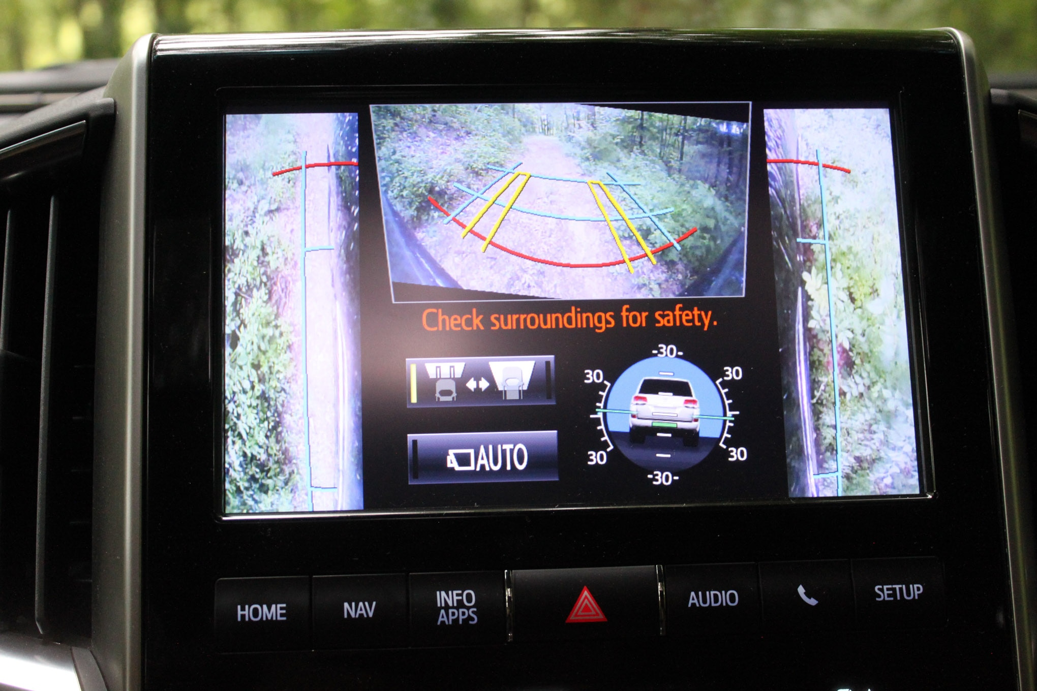 One of the benefits of new technology on the 2017 Toyota Land Cruiser is the multi-camera views and angle information. This can come in real handy when the trail gets tight for example.