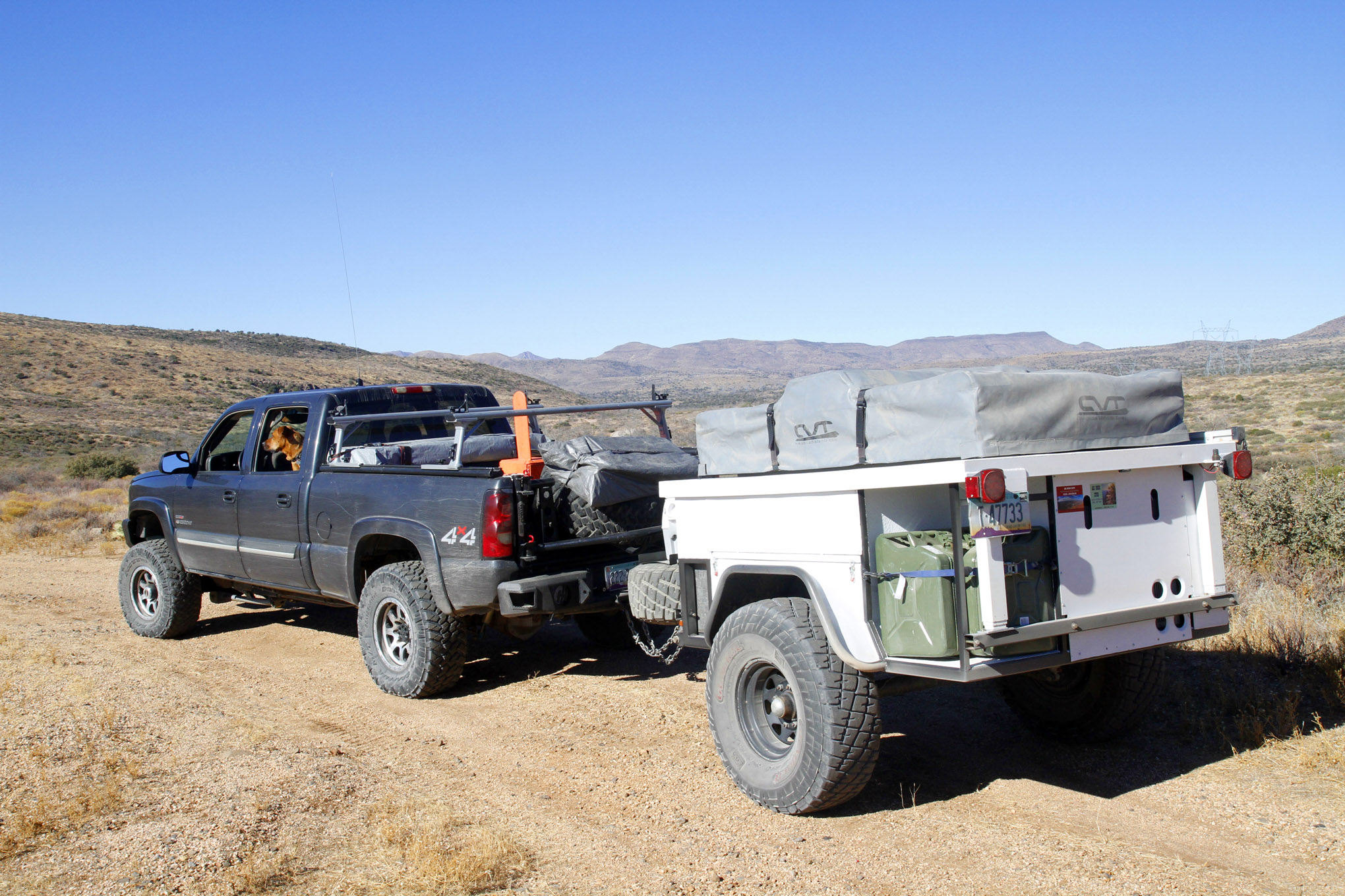 The couple also built a camp trailer to support their exploring addiction. They started from the ground up with a set of 35X12.50R15LT General Grabber tires mounted on steel wheels.
