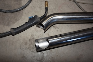 Our plan was to recreate the original exhaust Y-pipe's design using
